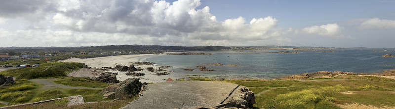 Saline Bay from Les Grandes Rocques Pano